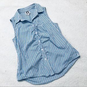 Anne Klein Collared Shirt - size 4 - blue & white